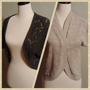 Bundle of two open knit gray shrug cardigans